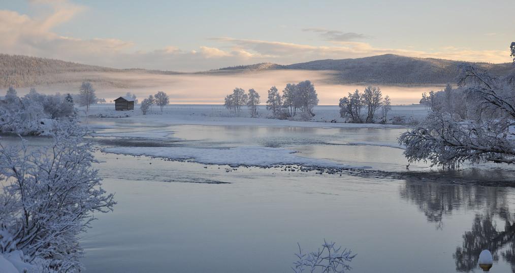 Vacker morgon idag där dimmar ligger över Gautsträsk